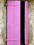 Pink Wooden Shutters, Minerve, Languedoc-Roussillon, France Photographic Print by David Tomlinson