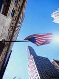 The Wrigley Building and American Flag, Chicago, Illinois Photographic Print by Ray Laskowitz