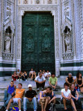 People Sitting on Steps Outside Main Door of Duomo, Florence, Tuscany, Italy Photographic Print by John Elk III