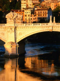 Ponte Vittorio Emanuele II Reflected in Tiber River at Sunrise, Rome, Italy Photographic Print by David Tomlinson