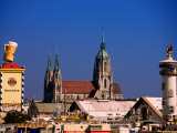 Beer Tents at Oktoberfest with Cathedral in the Background, Munich, Bavaria, Germany Photographic Print by Thomas Winz