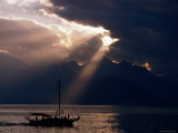 Yacht on Mediterranean with Mountain Backdrop and Storm Clouds, Antalya, Antalya, Turkey Photographic Print by Margie Politzer