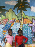 Girls in Front of Mural, Paradise Beach, Carriacou and Petit Martinique, Grenada Photographic Print by Holger Leue
