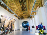 Visitors Viewing Modern Art in the Historic Palazzo Grassi, Venice, Italy Photographic Print by Krzysztof Dydynski