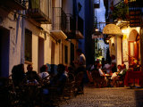 Outdoor Restaurants Near Citadel at Night, Peniscola, Valencia, Spain Photographic Print by David Tomlinson