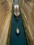 Ships in Narrow Corinth Canal, Corinth, Peloponnese, Greece Photographic Print by Diana Mayfield