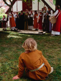 Woman Musicians Performing to Child at Festivitas Middle Ages Festival, Lund, Skane, Sweden Photographic Print by Anders Blomqvist