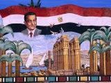 Mosaic of President Hosni Mubarak, Cairo, Egypt Photographic Print by John Elk III