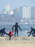 Person Cycling Past Sculptures on Han River Cycleway, Sinchon and Yeouido, Seoul, South Korea Photographic Print by Anthony Plummer