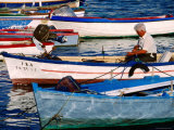 Fishermen Mending Nets in Boats on Costa del Azahar, Peniscola, Valencia, Spain Photographic Print by David Tomlinson