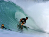 Surfer on Backhand Near Tube, Lagundri Bay, Pulau Nias, North Sumatra, Indonesia Fotografisk tryk af Paul Kennedy