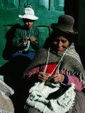 Women in Hats, Knitting Outside in the Sunshine, by a Green Wooden Door, Peru Photographic Print by Richard I'Anson