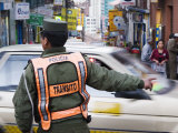 Traffic Policeman Working at Intersection of Sagarnaga and Illampu, La Paz, Bolivia Photographic Print by Brent Winebrenner