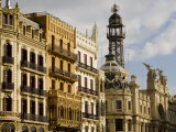 Modernista Facades along Plaza del Ayuntamiento, Central, Valencia, Spain Photographic Print by Greg Elms