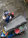 Tourists and Tuk Tuk on Thanon Rambutri, Bangkok, Thailand Photographic Print by Brent Winebrenner