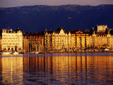 Quai du Mont-Blanc, Sunrise on Lake Geneva, Geneva, Switzerland Photographic Print by Witold Skrypczak