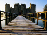 Wooden Bridge Across the Moat at Bodiam Castle, Early Morning, Eastbourne, East Sussex, England Photographic Print by David Tomlinson