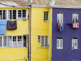Washing Hanging outside Colourful Houses on Calle Guimera, Valparaiso, Chile Photographic Print by Brent Winebrenner