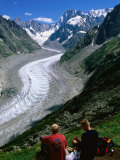 Montenvers Mer de Glace with Hikers, Chamonix, Rhone-Alpes, France Photographic Print by John Elk III
