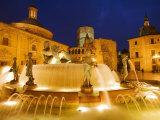 Turia Fountain, Plaza del la Virgen, Centro Historico, Valencia, Spain Fotografisk tryk af Greg Elms