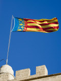 Valencian Flag Flying from Torres de Serranos, Central, Valencia, Spain Photographic Print by Greg Elms