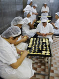 Kitchen Workers Making Portuguese Tarts at Antiga Confeitaria de Belem, Lisbon, Portugal Photographic Print by Greg Elms