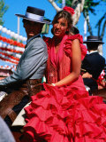 Feria de Abril Horseman with Girl in Traditional Dress, Sevilla, Andalucia, Spain Photographic Print by David Tomlinson