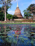 The Lotus Pond and Stupa in Sukhothai Historical Park, Thailand Photographic Print by Glenn Beanland