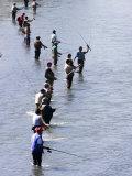 Fishermen Line Ship Creek During Salmon Run, Anchorage, Alaska Photographic Print by Brent Winebrenner