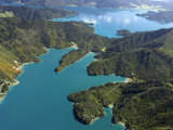 Waterfall Bay and Mistletoe Bay, Marlborough Sounds, New Zealand Photographic Print by David Wall