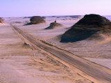Road from Siwa to Bahariya in Western Desert, Siwa, Egypt Photographic Print by John Elk III