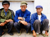 Group of Three Seated Men at Cheng Gong Near Kunming, Yunnan, China Photographic Print by Greg Elms