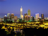 City Skyline with Central Business District at Dusk, Perth, Western Australia Photographic Print by Ross Barnett