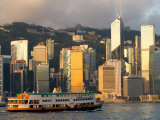 Passenger Ferry Crossing Hong Kong Harbour toward Central, Hong Kong, China Photographic Print by Greg Elms