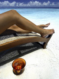 Woman Sunbathing on Beach, Kandholhudu, Ari Atoll, Alifu, Maldives Photographic Print by Felix Hug