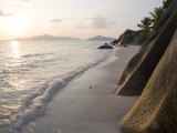 Coastline at Sunset, La Digue Island Photographic Print by Holger Leue