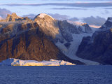 Mountains, Icebergs and Glaciers at Bjorn Oer Mountains, Scoresby Sund Photographic Print by Michael Gebicki