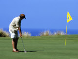 Golfer, Hapuna Golf Course, Kohala Coast, Hawaii, Hawaii Photographic Print by Holger Leue