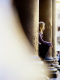 Woman Seated Among Great Pillars, Pantheon, Rome, Lazio, Italy Photographic Print by Philip &amp; Karen Smith