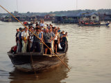 Tourists Crammed on Boat, Tonle Sap Lake, Phnom Penh, Cambodia Photographic Print by Dominic Bonuccelli