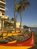 Outriggers on Waikiki Beach, Oahu, Hawaii Photographic Print by John Elk III