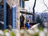 Family on Terrace of Villa, Livorno, Tuscany, Italy Photographic Print by Philip & Karen Smith