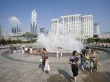 Renmin Park Fountain, Shanghai, China Photographic Print by Greg Elms