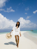Young Woman Walking on Kuramathi Sandbank, Rashdoo Atoll, Alifu, Maldives Photographic Print by Felix Hug