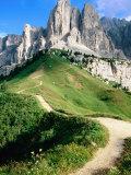 Sello Massif, Passo Gardena, Dolomites, Dolomiti di Sesto Natural Park, Trentino-Alto-Adige, Italy Fotografisk tryk af John Elk III