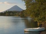 Boat on Lago de Nicaragua with Volcan Concepcion in Distance, Isla de Ometepe, Rivas, Nicaragua, Photographic Print