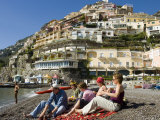 Family on Beach, Positano, Campania, Italy Photographic Print by Greg Elms