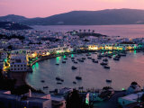 Port View at Sunset, Mykonos Island, Southern Aegean, Greece Photographic Print by John Elk III