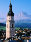 Town with Church Steeple, Dolomites, Castelrotta, Trentino-Alto-Adige, Italy Photographic Print by John Elk III