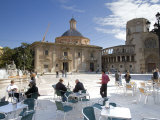 People at Outdoor Dining Area Plaza de la Virgen, La Seu, el Mercat, Valencia, Spain Photographic Print by Greg Elms